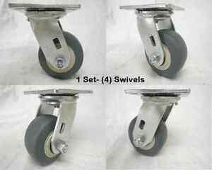 4 X 2 Swivel Caster Thermoplastic Rubber Wheel 300 Lbs Each 4 Tool Box