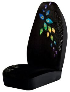 Peacock Universal Bucket Seat Cover Black Multicolor Rainbow Feathers Design