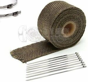Toyota 2 X 25 Protection Header Exhaust Heat Wrap Titanium With 8 Steel Ties
