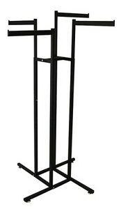 4 way Clothing Rack Display Fixture 16 Straight Flag Arms Black Lot Of 10 New