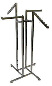 Clothing 4 way Rack Store Display Waterfall Faceout Arm Chrome Lot Of 10 New