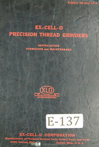 Excello 33 And 33l Thread Grinder Operations Maintenance Wiring Manual 1941