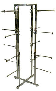 4 Way Lingerie Rack Undergarments Display 16 Round 12 Arms Chrome Lot Of 10 New