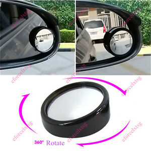 2x Cars Blind Spot Mirror Rearview 2 Side Wide Angle Round Convex 360 Rotating