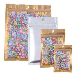 Variety Of Sizes For 100 Pcs Flat Clear gold silver Quickqlick bags W Hang Hole