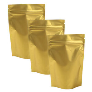 Variety Of Sizes For 100 Pcs Gold Stand Up Aluminum Foil Zip Lock Bags