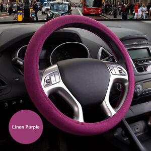 15 38cm Environmental Linen Odorless Automotive Car Steering Wheel Cover Purple