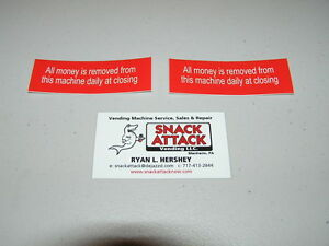Snack Or Soda Vending Machine 2 decals all Money Is Removed From This Machine