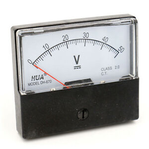 Rectangle Shape Analog Panel Volt Meter Voltmeter Dh 670 Dc 0 50v