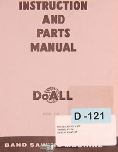Doall V 36 Contour Machine 90 Pages Instructions And Parts Manual