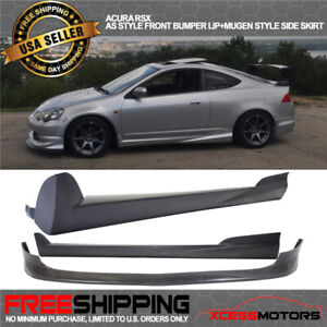 Fit 02 06 Acura Rsx Ac Style Front Bumper Lip Spoiler Mugen Style Side Skirt Pu