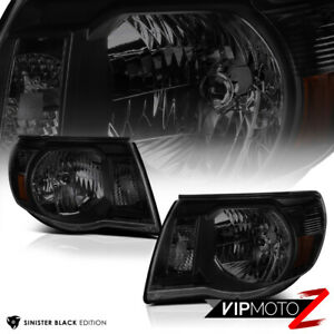 For 05 11 Toyota Tacoma Sinister Black Front Headlights Head Lamps Pre Runner