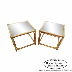 Vintage Quality Rattan Pair Of Square Cube End Tables B