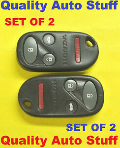 2x Set Of 2 98 02 Honda Accord Se Ex Remote Fob 4 Buttons Red Led Kobutah2t