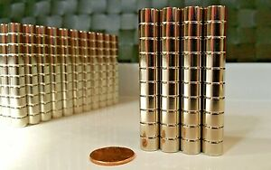 10 Large Neodymium Cylinder Disc Magnets Super Strong N52 Rare Earth 3 8 1 4