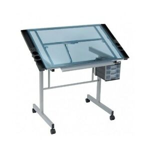 Drafting Table Drawing Desk Station Architect Adjustable Glass Work Tracing New