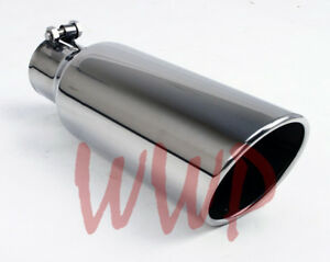 Stainless Steel Polished Angle Cut Roll Exhaust Tip 4 Inlet 5 Outlet 12 Length