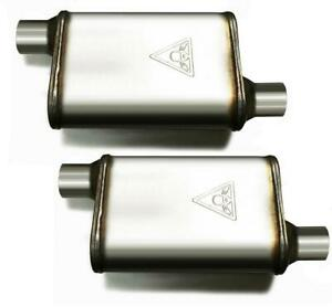 High Flow Two Chamber Performance Mufflers Set Offset Offset 2 25 2 1 4