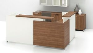 Quad 72 Modern L shape Reception receptionist Office Desk Shell