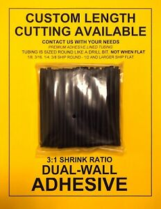 1 8 3mm I d Black 4 50pcs Dual wall Adhesive Lined 3 1 Heat Shrink Tubing