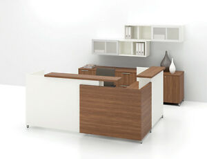 Quad 96 Modern Reception receptionist Office Desk With Bookcase And Hutch Set