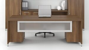 Quad 84 Modern Executive Office Desk With Modesty Panel And Double Pedestal