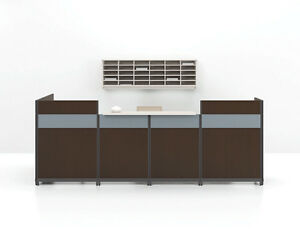 Quad Modern L shaped Reception receptionist Office Desk Bookcase