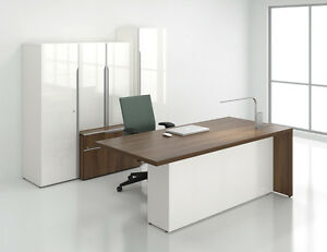 Nex Modern Executive Office Desk With Storage Bookcase And Hutch
