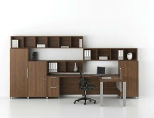 Quad Modern L shape Peninsula Office Desk With Bookcase And Wall Storage Set