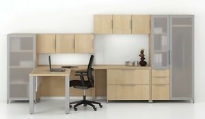 Quad Modern Peninsula Office Desk With Bookcases And Wall Storage Set