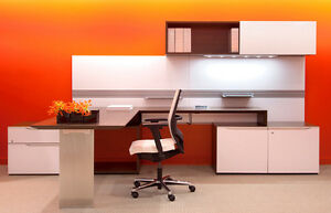 Nex Modern L shape Office Desk With Storage And Sliding Door Hutch