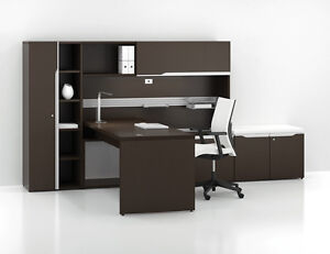 Nex Modern Rectangular Office Desk Shell With Wardrobe Storage And Hutch