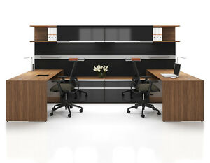 Nex Modern U shape Office Workstation Cluster Of 2 With Storage And Hutch