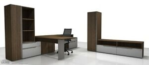 Nex Modern L shape Office Desk With Storage Bookcase And Hutch