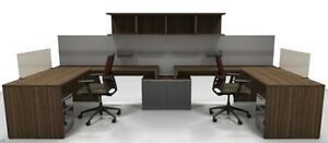 Nex Modern U shape Office Workstation Cluster Of 2 With Hutch