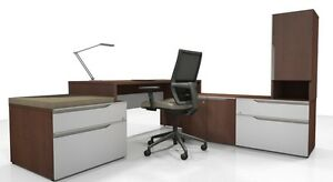 Nex Modern L shape Executive Office Desk With Storage Bookcase And Hutch