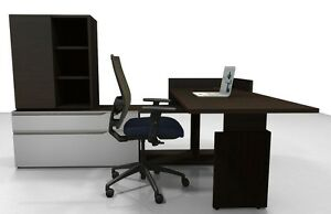 Nex Modern L shape Height Adjustable Office Desk With Storage And Bookcase