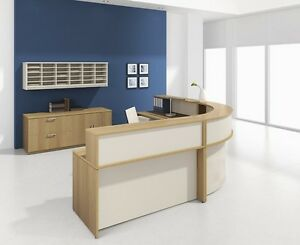 Morpheo 198 Modern Curve Reception receptionist Office Desk With Credenza