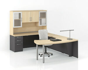 Morpheo 97 Modern L shape Executive Office Desk Shell With Storage Hutch