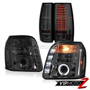 For 07 14 Gmc Yukon Sle Titanium Smoke Tail Lamp Headlight Smd Drl High Power