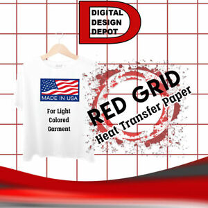 Heat Transfer Paper Iron On Light T Shirt Inkjet Red Grid 50 Pk 8 5 x11