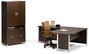 Concept 3 Modern L shape Executive Office Desk With Pedestal And Storage