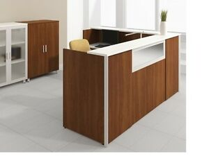 Concept 3 72 Modern L shape Reception receptionist Office Desk Shell W shelf