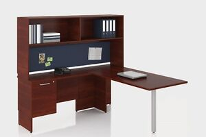 Concept 300 114 Modern L shape Executive Office Desk Shell With Hutch