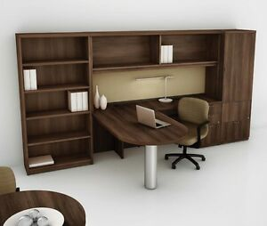 Concept 70 Modern D shape Executive Office Desk With Bookcase And Lateral File