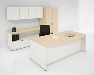Concept 70 Modern Bow front Single Pedestal Executive Office Desk With Hutch