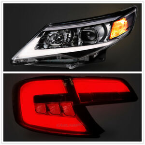 For Toyota Camry 2012 2014 Led Drl Headlights Tail Lights Smoked Black