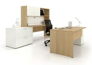 C a 72 Modern White Executive Office Desk With Lateral File Credenza