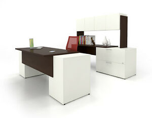 C a 84 Modern White Executive Office Desk With Lateral File Credenza