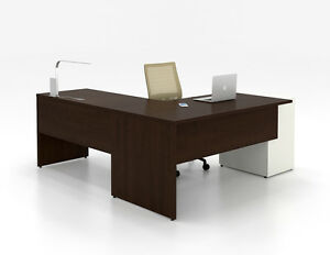 C a Modern White L shape Executive Office Desk With Modular Pedestal